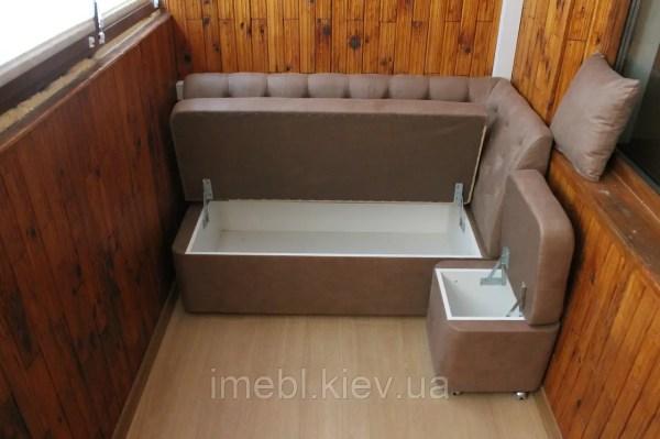 Мягкий диванчик с пуфом на балкон или лоджию Кофейный на