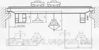 Кран мостовой специальный с двумя тележками г/п 8+8 т ...