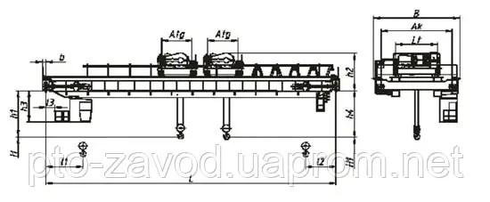 Кран мостовой специальный с двумя тележками г/п 16/3,2+16 ...