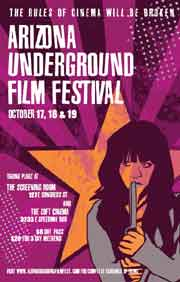 Film festival poster featuring a drawing of a girl holding a knife