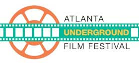 Film festival logo that looks like a strip of celluloid film and a movie reel