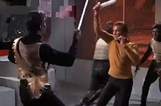 Captain Kirk fights Klingons on the Enterprise on the Star Trek TV series