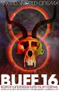Boston Underground Film Festival poster featuring a devil skull head