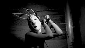 Rodleen Getsic wearing mask in The Bunny Game