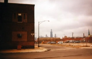 Abandoned corner in Chicago with the downtown skyline in the background