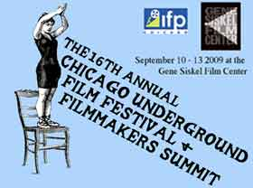 Film festival logo featuring an old-time drawing of a woman standing on a chair