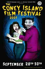 Coney Island Film Festival poster featuring a drawing of a man caught molesting a woman