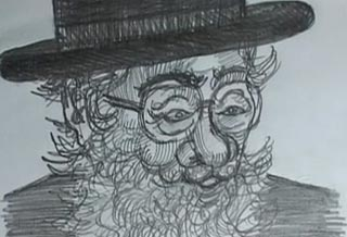 Drawing of a Jewish rabbi with a thick beard