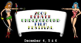 Text logo for the Denver Underground Film Festival with drawings of sexy women