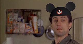 Robert De Niro in Taxi Driver wearing Mickey Mouse ears
