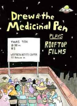 Movie screening poster featuring a drawing of people watching a movie on a rooftop