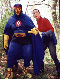 Mexican wrestler superhero and his female sidekick