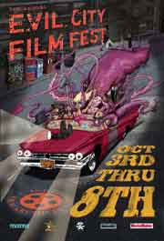Evil City Film Festival poster featuring freaks driving in a classic car