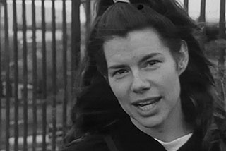 Close-up of Greta Snider in her short film Portland