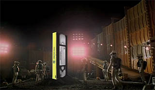 Iconic moon scene from 2001: A Space Odyssey that recasts the monolith as a VHS tape