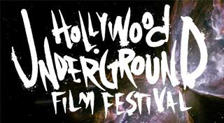 Text in space logo for the Hollywood Underground Film Festival