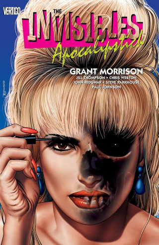 Cover to graphic novel The Invisibles: Apocalipstick featuring a woman with a burned face