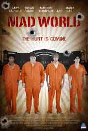 Four teenagers in orange prison jumpsuits