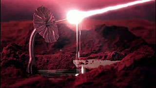 A structure on Mars shoots a laser beam at Earth