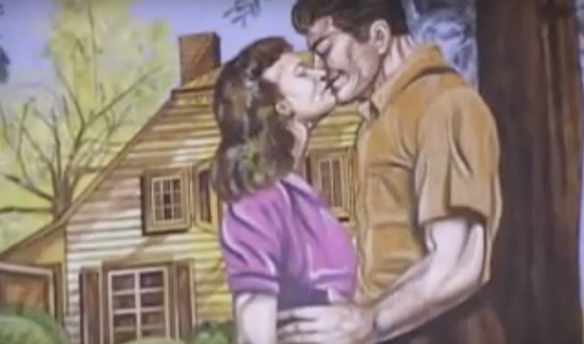 Painting of a man and a woman kissing