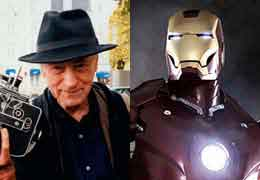 Split screen of Jonas Mekas and Iron Man