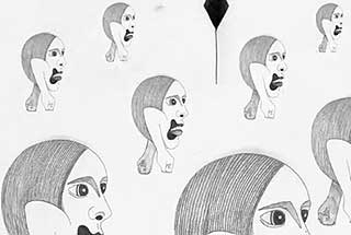 Giant heads marching