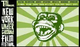 Film festival logo featuring a screaming monkey on a green sunburst background