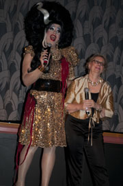 Peaches Christ and Mink Stole on stage