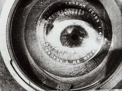 Still from Man With a Camera featuring an eyeball in a camera lens