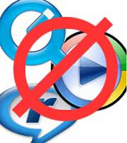 Crossed out logos for Quicktime, RealPlayer and Windows Media Player