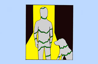 Abstract drawing of a man standing with a dog