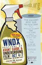 WNDX Underground Film Festival poster featuring a drawing of a spray bottle