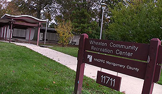 Entrance and sign for the Wheaton Community Recreation Center