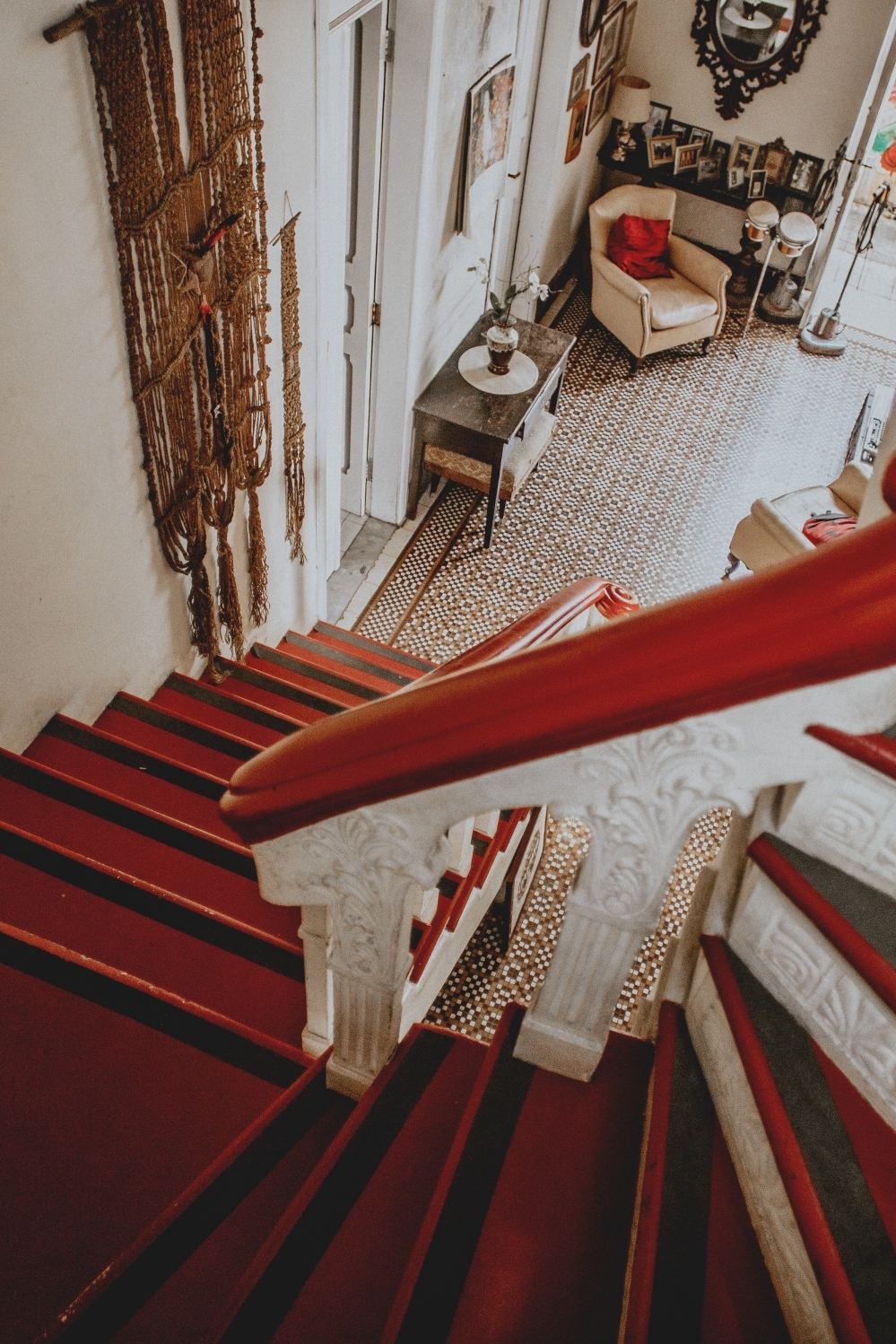 Red And White Wooden Stairs Photo – Free Banister Image On Unsplash   White And Wood Banister   Stairwell   Gray White   Contemporary   Classic Wood Stair   Colonial