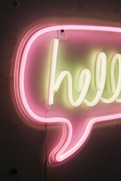 Hello Neon Sign Urban Outfitters