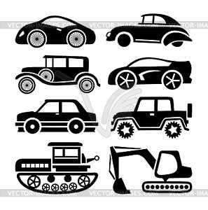Значок автомобиля, черный транспортный набор - клипарт в ...