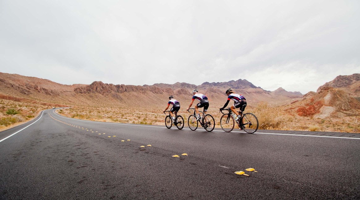 three riders on the Specialized Ride to Vegas