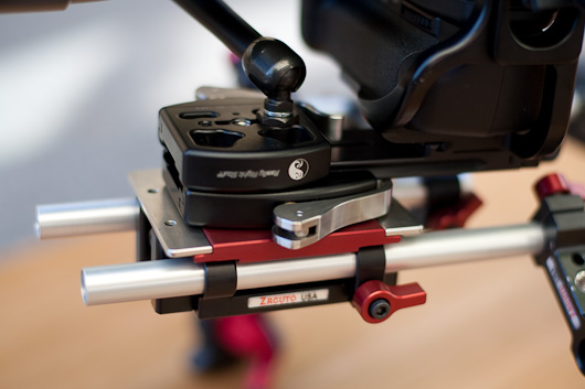 Showing second RRS Quick Release mounting mini arm and SmallHD field monitor