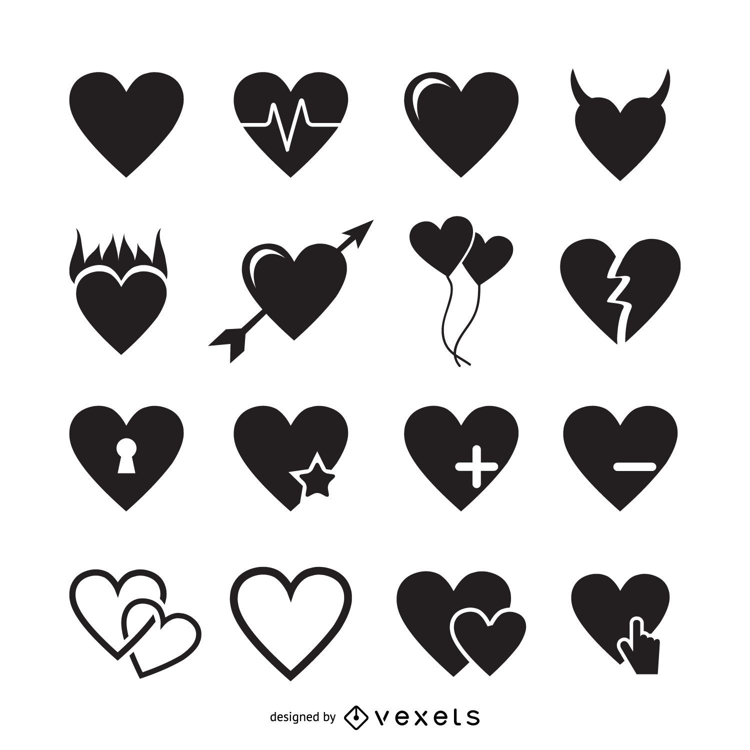 16 Heart Icons Logo Template