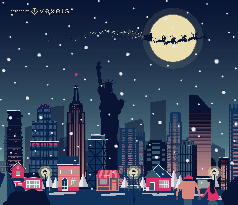 New York Christmas Skyline Snowing Vector Download