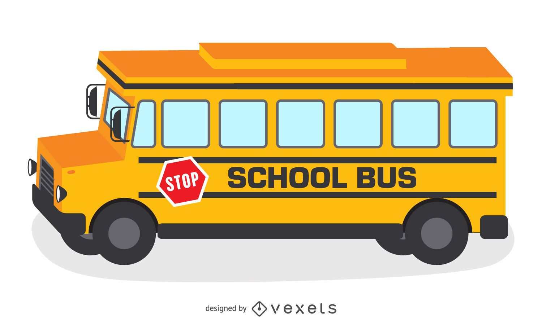 Ilustracion Autobus Escolar Amarillo