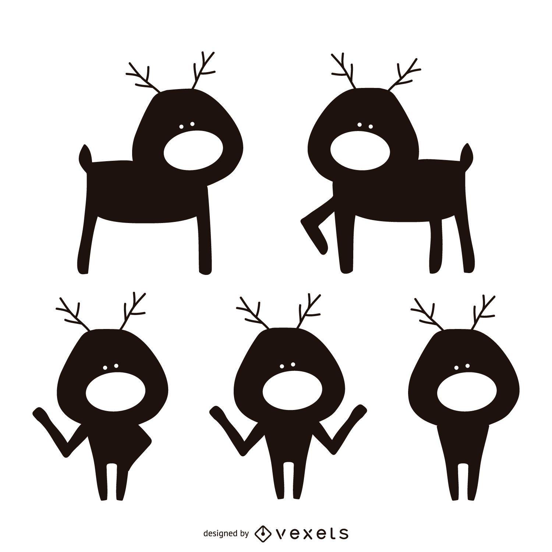Reindeer Cartoon Silhouette Set