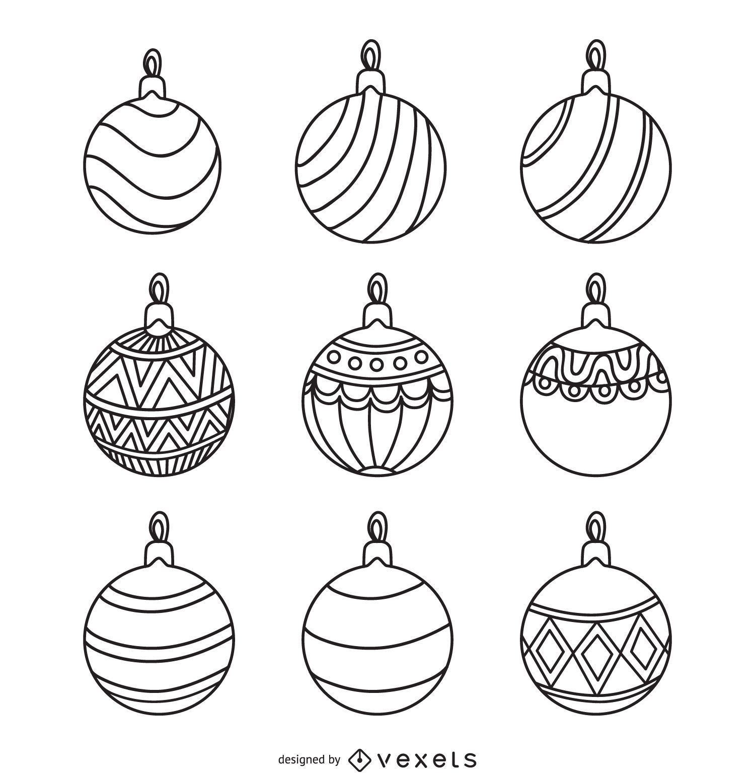 Christmas Round Ornament Outlines Set