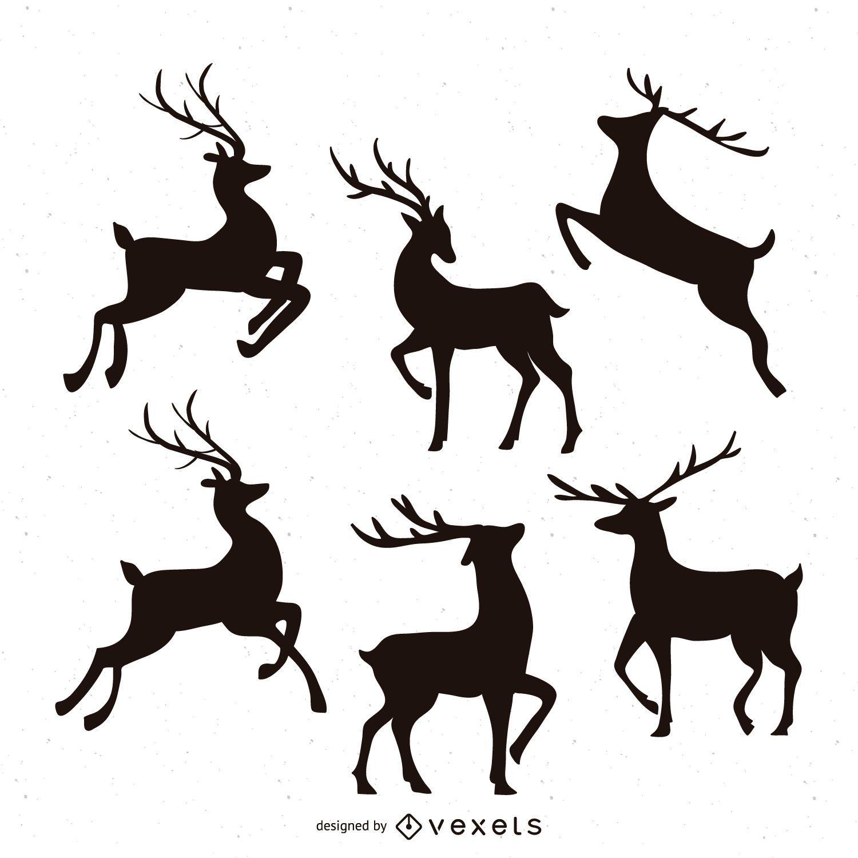 Reindeer Silhouette Illustration Set