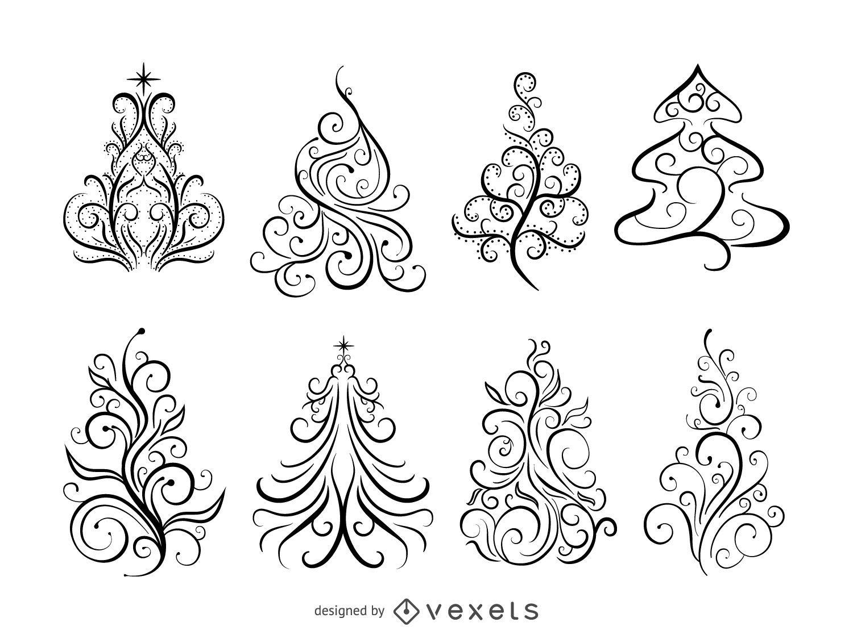 Swirl Ornamental Christmas Trees