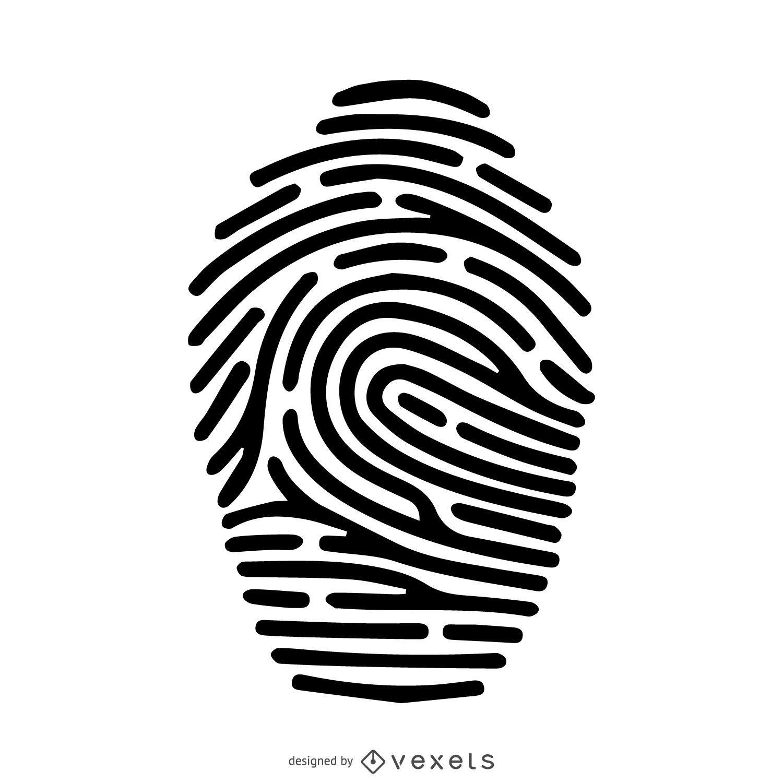 Fingerprint Silhouette Stroke Illustration