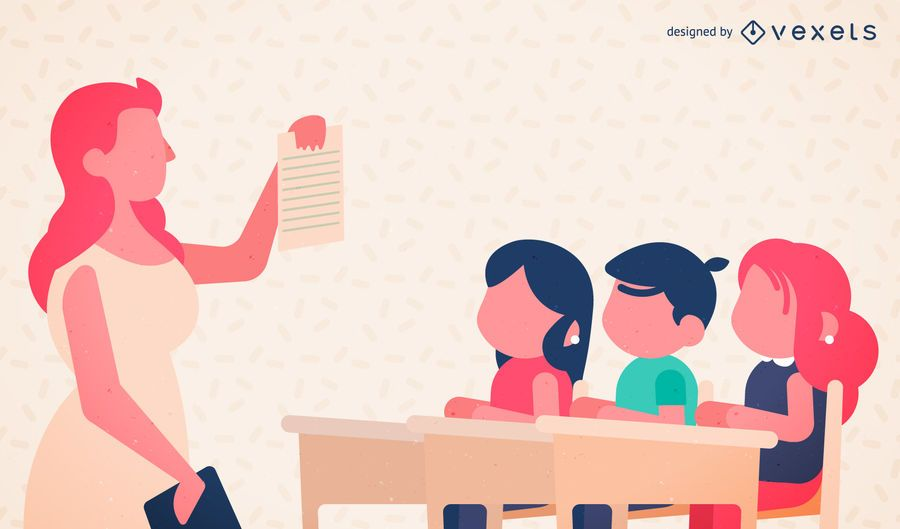 Download Teacher and school kids illustration - Vector download
