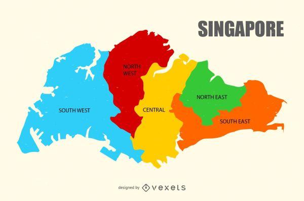 Singapore region map - Vector download