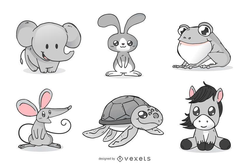 Cute Animals Cartoon Illustration Set Vector Download