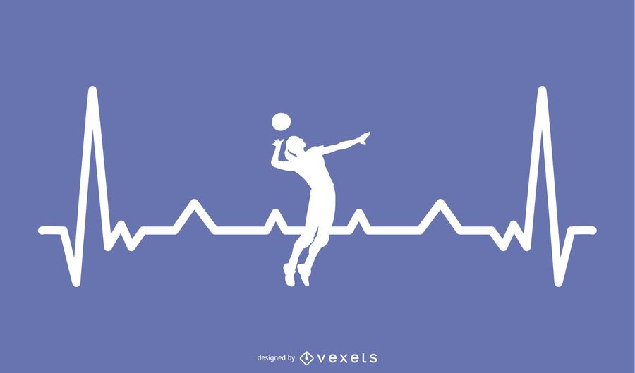 Download Volleyball With Heartbeat Line Design - Vector Download